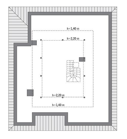Rzut poddasza: do indywidualnej adaptacji (68,9 m2 powierzchni użytkowej)