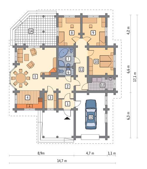 Rzut parteru POW. 136,5 m²