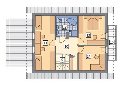 Rzut poddasza: wariant 4 POW. 71,0 m²