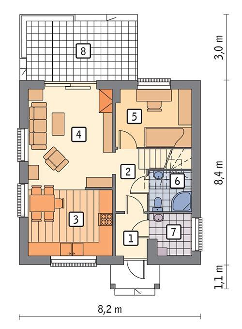 Rzut parteru POW. 49,7 m²