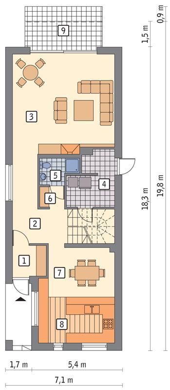 Rzut parteru POW. 96,0 m²