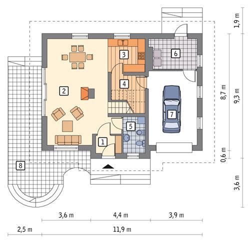 Rzut parteru POW. 82,8 m²
