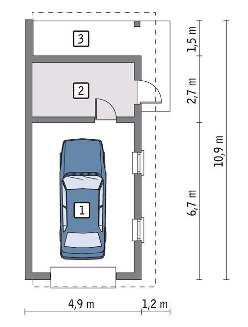 Rzut parteru POW. 35,8 m²