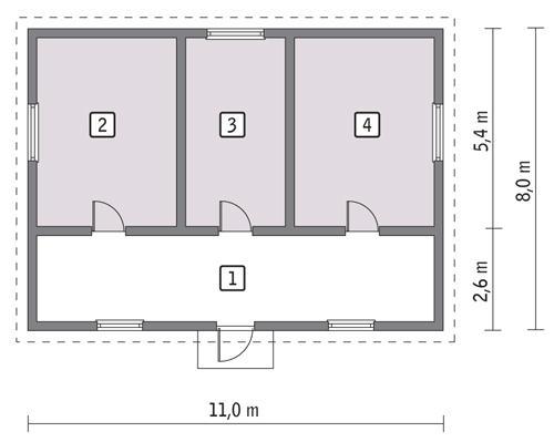Rzut parteru POW. 74,1 m²