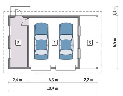 Rzut parteru POW. 47,8 m²