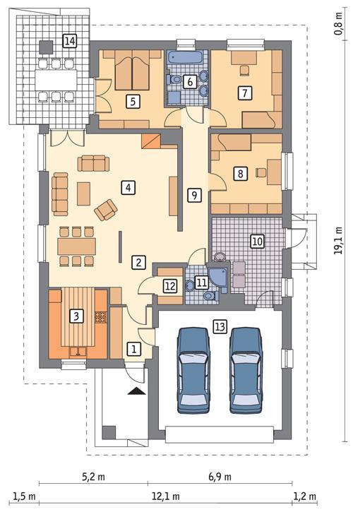 Rzut parteru POW. 160,9 m²