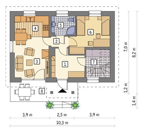 Rzut parteru POW. 51,0 m²