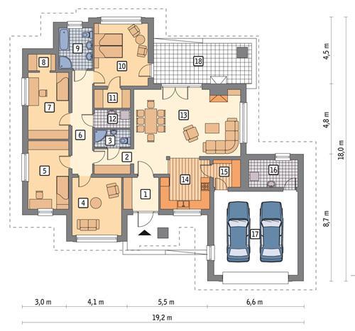 Rzut parteru POW. 175,8 m²