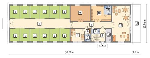 Rzut parteru POW. 384,3 m²