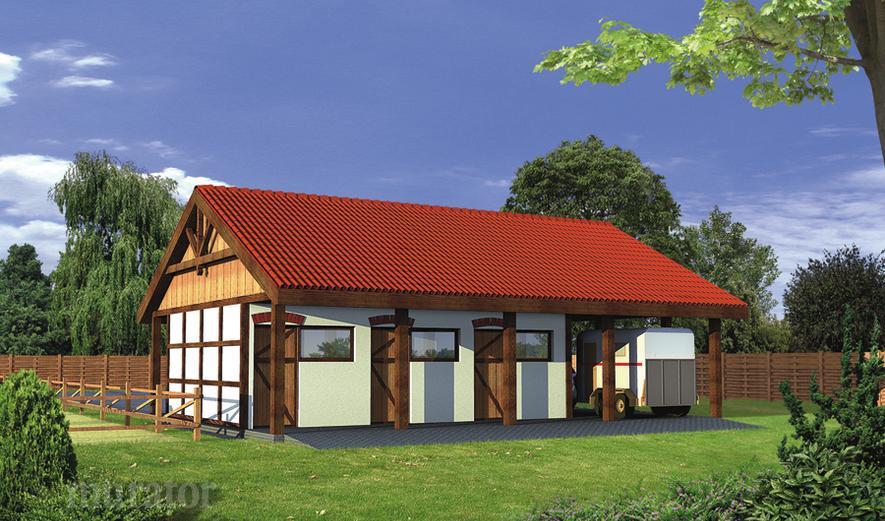 SC13 Stajnia dla 6 koni z wiatą garażową